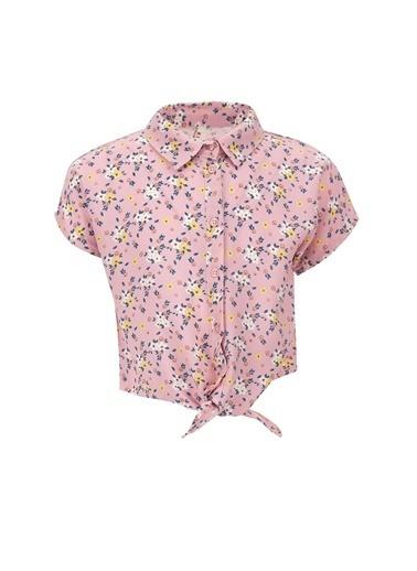 DeFacto Kız Çocuk Limon Desenli Düşük Kol Gömlek Mor